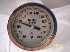 "Central Boiler Large 3"" Dial  Temperature Gauge Water Temp Sensor  Threaded"