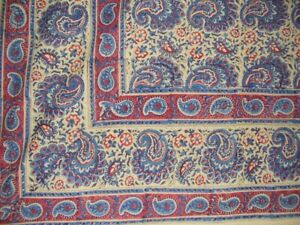 "Block Print Indian Tapestry Cotton Bedspread 108"" x 88"" Full-Queen Blue"