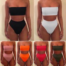 Women High Waisted Bikini Set Strapless Bandeau Swimwear Swimsuit Bathing Suit