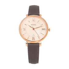 Fossil ES3707 Jacqueline Ladies Rose Gold Dial Gray Leather Strap Watch