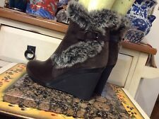Aquatalia Faux Fur Ankle Boots Marvin K Brown Leather Winter Womens Size 6.5,euc