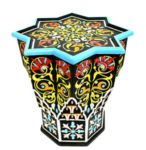 Moroccan Side Table Black Star Painted Handmade Authentic End Accent Piece Decor