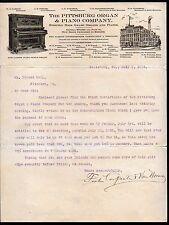 1903 Pittsburg --  Organ & Piano Co Pennsylvania Vintage Letter Head Rare