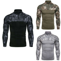 T-Shirt Army Military Tactical Fitness Men Combat Long Sleeve Camouflage