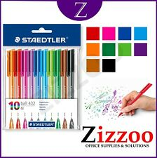 STAEDTLER RAINBOW BALLPOINT PENS - ASSORTED COLOURS - PACK OF 10 - FREE POST!