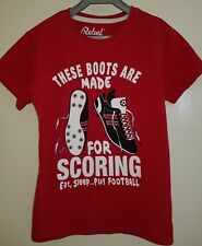 Boys Red 'These Boots Are Made For Scoring' Short Sleeve T-shirt 7-8 Years