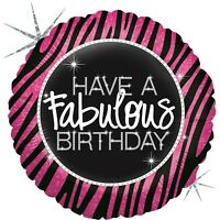 "Betallic Fabulous Zebra-lining Round Shaped Holographic Birthday Balloon- 36"""
