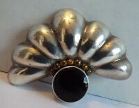 Vintage STERLING SILVER Shell Fan & Onyx Brooch Pin MEXICO 950 18g Taxco 1960s