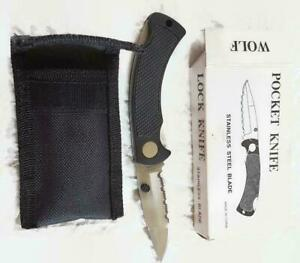 Vtg Wolf Brand Folding Pocket Knife - 6.75 Inch Open w Fabric Belt Sheath w Box