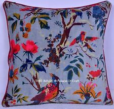"Bird Floral Pillow Home Decor Velvet Cushion Cover Ethnic Indian Handmade 16"""