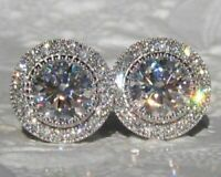 4Ct Round Attractive Cut Moissanite Halo Stud Earrings 14K White Gold Finish