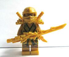 Lego Ninja Ninjago Minifig Minifigure Gold Ninjago Lloyd Golden with weapons