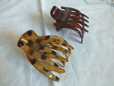 """Collectible Hair Comb Set 2 Pinch Open Browns Beige 3 1/4 x 2 1/2"""" NICE"""