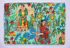 100% Cotton Indian Traditional Frida Khalo Bed Cover Bedspread Coverlet Blanket