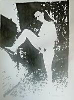 Unikat Mooseart Akt erotische Zeichnung  Acryl auf Papier ca. 21x30cm Original