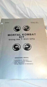 Mortal kombat Kit Using T-Unit CPU 1993 Arcade Manual