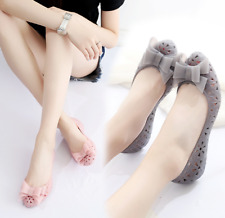 Womens Transparent Jelly Flat Sandals Sweet Bow Tassel Shoes Hollow Up Beach