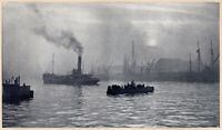 P. BOURGEOIS, The Clyde, Glasgow 1905 Tipped-in Halftone French Pictorialism
