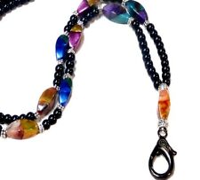 Beaded Lanyard necklace work ID badge, key holder - Black Pearls with Rainbow