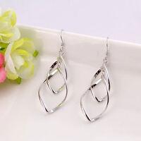 Elegant Damen 925 Silber plattiert Ohrringe mit zwei twist Diamant Ohrhänger