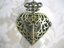 """KEY TO MY HEART"" Steampunk Vintage Bronze Heart Bow Pocket Watch Necklace"