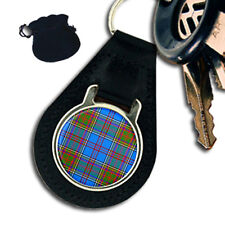 ANDERSON SCOTTISH CLAN TARTAN  LEATHER KEYRING / KEYFOB GIFT