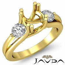 3 Stone Diamond Wedding Round Mount Ring 18k Yellow Gold Criss Cross Shank 0.5Ct