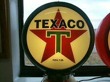 gas pump globe TEXACO repo. 2 GLASS LENS & LIGHT STAND
