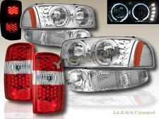 00-06 GMC YUKON DENALI/ XL HALO HEADLIGHTS LED CLR+ BUMPER + RED LED TAIL LIGHTS