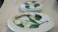 DECORATIVE HAND PAINTED FLOWERS ON CERAMIC PLATTER, AND BOWL WITH COVER