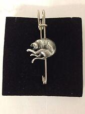 "Stretching Cat R202 Pewter Emblem Kilt Pin Scarf or Brooch 3"" 7.5 cm"