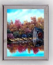 Old Gristmill in Autumn Original oil stretched canvas framed art free shipping