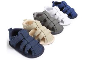 Newborn Baby Boy Soft Pram Shoes Toddler Pre Walker Summer Sandals 0-18 Months