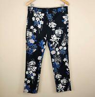 Banana Republic Reegan Floral Print Pant Cotton Stretch Straight Leg 6 Women's