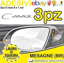 KIT 3 ADESIVI FORD C-MAX SPECCHIETTO INTERNO AUTO ARGENTO SILVER 6x1 CM Sticker