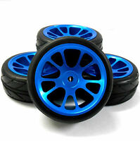 AA1010B 1/10 Scale RC Car On Road Wheel and V Tread Tyre Blue Alloy 10 Spoke 4