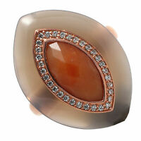 Damen Ring echt Silber 925 Sterling rosegold gold mit Achat Aventurin Zirkonia