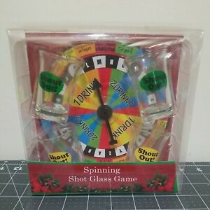 Kingsbridge Spinning Shot Glass Drinking Game Set of 4 Mini-Glasses Spinner New