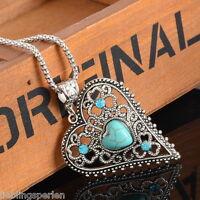 L/P:Boho Halskette mit Hohl Herz Türkis Anhänger Silberkette Blau Strass 46.5cm