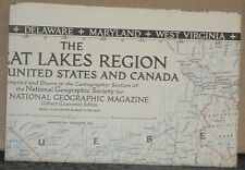 1953 National Geographic Map of The Great Lakes Region United States & Canada
