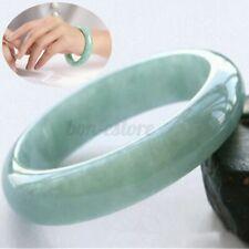 53-64mm Beautiful Light Green Jade Bangle Hand Carved Jade Bracelet A+ Green