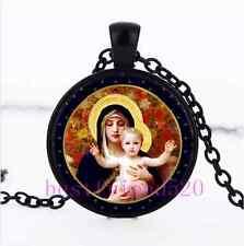 Madonna Photo Cabochon Glass Black Chain Pendant Necklace