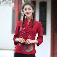 Chinese Traditional Tops Women Linen Shirt Summer Blouse Size M-4XL