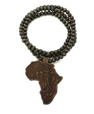 NEW NATURAL  WOOD BLACK POWER FIST AFRICAN MAP  WOODEN BEAD CHAIN NECKLACE