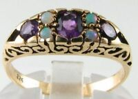 CLASSIC 9K 9K GOLD AMETHYST AUS OPAL VINTAGE INS RING FREE RESIZE