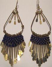 Earrings Blue Thread weaves Gold Bars Long Dangle Hypoallergenic Hook NWT L1008