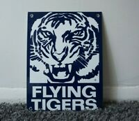 VINTAGE FLYING TIGERS AVIATION GASOLINE PORCELAIN SIGN GAS OIL METAL AIRPLANE AD