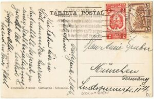 COLOMBIA FISCAL usage on postcard 1937 Cartagena