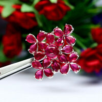 NATURAL RED RUBY BROOCH 925 STERLING SILVER