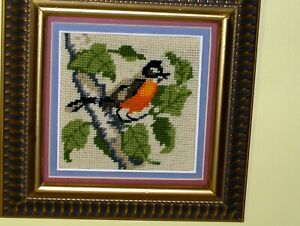 OLD Bird Red Orange Cardinal on Limb Tree w Leaves Crewel NEEDLEPOINT WOOL VINTG